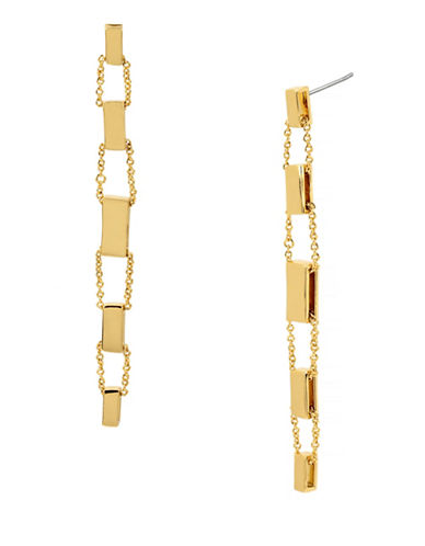 Diane Von Furstenberg Linear Slider Drop Earrings-GOLD-One Size