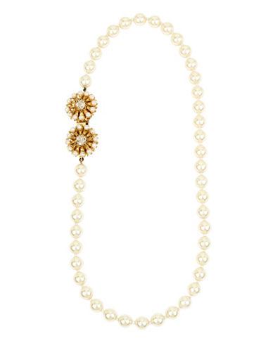 Miriam Haskell Swarovski Pearl Flower Strand Necklace, 18-Inch-WHITE-One Size