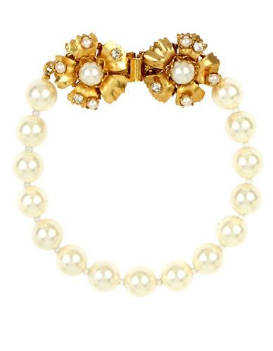 Miriam Haskell Swarovski Pearl Flower Strand Bracelet-WHITE-One Size