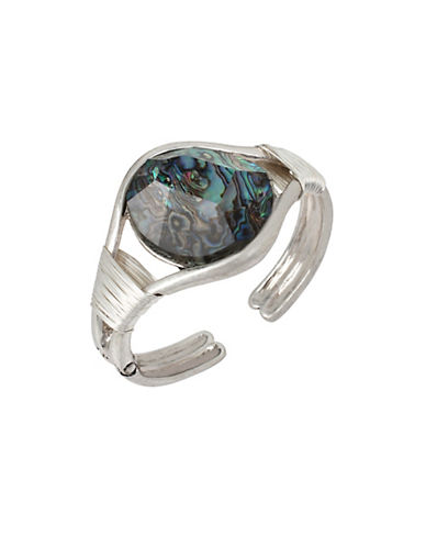 Robert Lee Morris Soho Abalone Faceted Stone Wire Wrapped Hinged Cuff Bracelet-SILVER-One Size