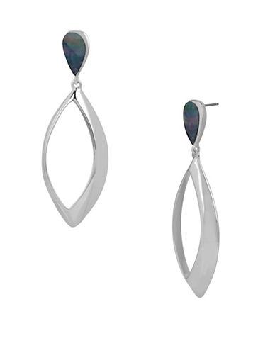 Robert Lee Morris Soho Silvertone Teardrop Shell Stone Earrings-SILVER-One Size
