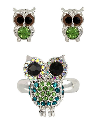 Betsey Johnson Pave Owl Stretch Ring and Stud Earrings Three-Piece Set-MULTI-7