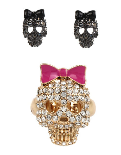 Betsey Johnson Pave Skull Stretch Ring and Stud Earrings Three-Piece Set-MULTI-7