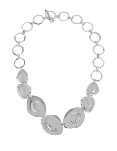 Robert Lee Morris Soho Hammered Oval Frontal Necklace-SILVER-One Size