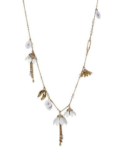 Betsey Johnson Shaky Flower Charm Necklace-WHITE-One Size