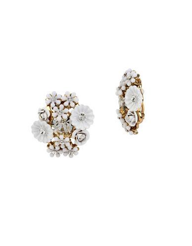 Betsey Johnson Flower Cluster Clip-On Earrings-WHITE-One Size