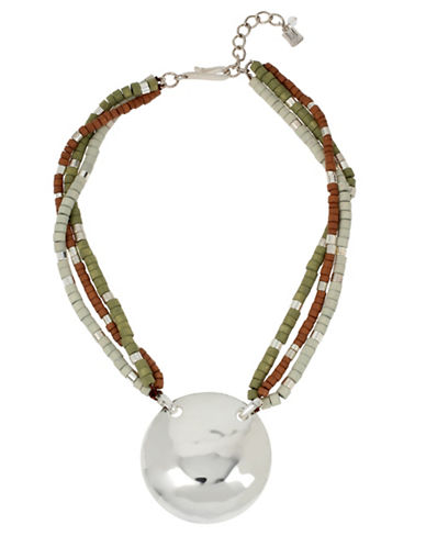 Robert Lee Morris Soho Hammered Texture Circle Pendant Mixed Bead Necklace-MULTI-One Size