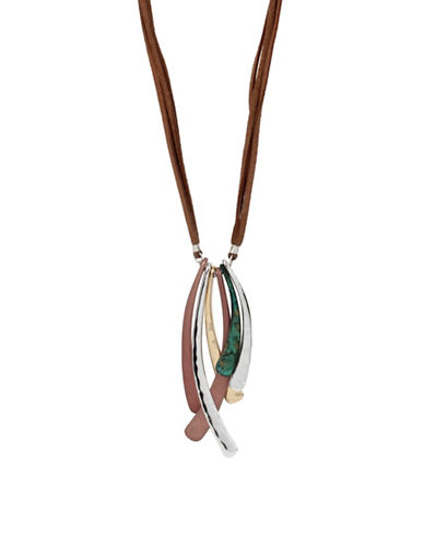 Robert Lee Morris Soho Sculptural Stick Pendant Long Suede Necklace-TWO TONE-One Size