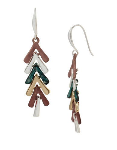 Robert Lee Morris Soho Sculptural Stick Linear Earrings-TWO TONE-One Size
