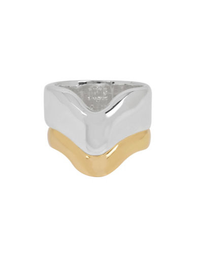 Robert Lee Morris Soho Sculptural Two Tone V Ring Set-ASSORTED-7.5