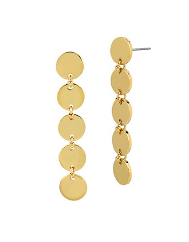 Diane Von Furstenberg Swarovski Stone Circle Linear Earrings-GOLD-One Size