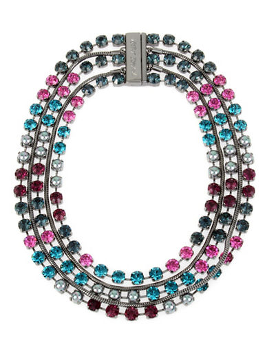 Betsey Johnson Multi Chain Statement Necklace-MULTI-One Size