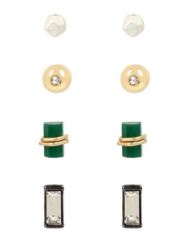 Kenneth Cole New York Boxed Three-Tone Green Stone and Crystal Stud Earring Set-GREEN-One Size 88690344_GREEN_One Size