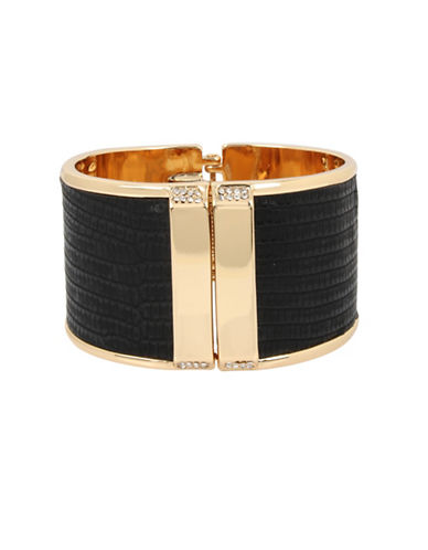 Kenneth Cole New York Pave Leather Hinged Bangle Bracelet-BLACK-One Size