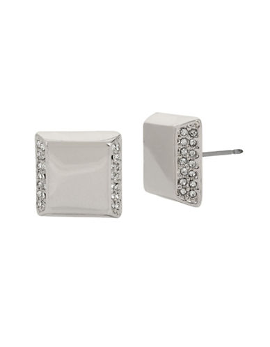 Kenneth Cole New York Pave Square Silver Stud Earrings-SILVER-One Size