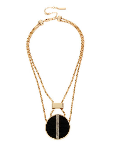 Kenneth Cole New York Leather Circle Pendant Necklace-BLACK-One Size
