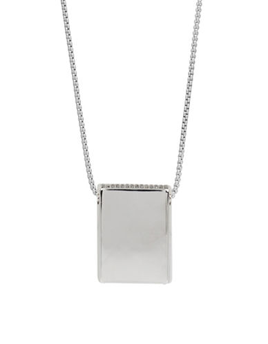 Kenneth Cole New York Pave Rectangle Pendant Necklace-SILVER-One Size
