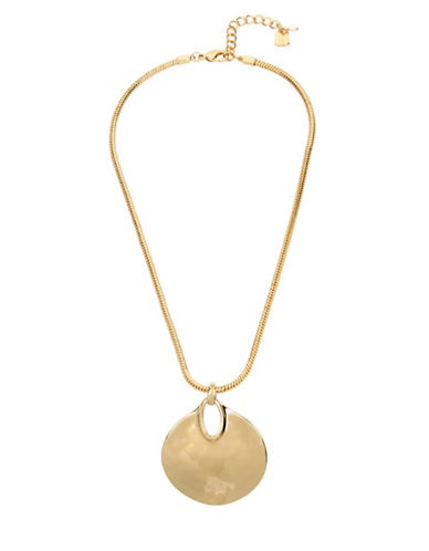Robert Lee Morris Soho Sculptural Circle Pendant Necklace-GOLD-One Size