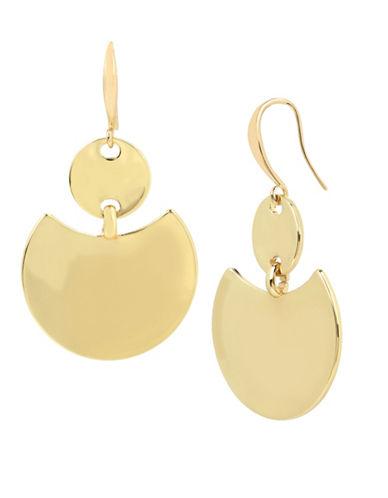 Robert Lee Morris Soho Geometric Double-Disc Drop Earrings-GOLD-One Size