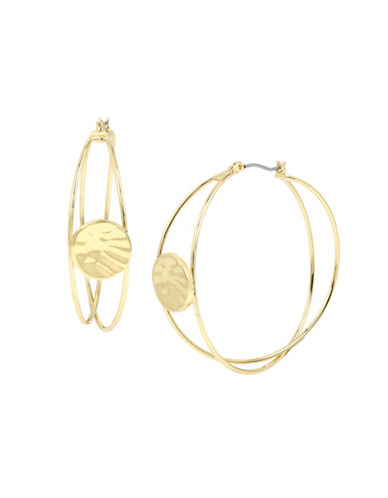 Robert Lee Morris Soho Disc Overlap Hoop Earrings-GOLD-One Size