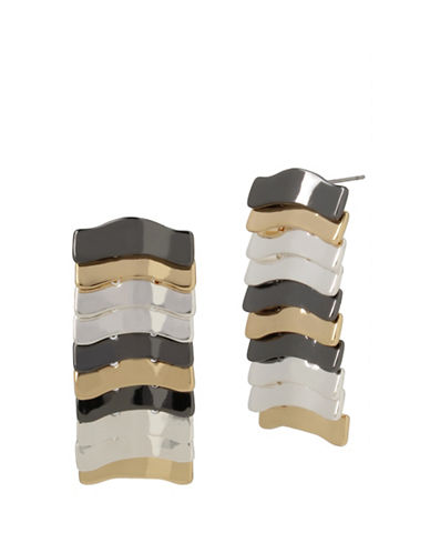 Robert Lee Morris Soho Layered Sculptural Linear Earrings-TRITONE-One Size