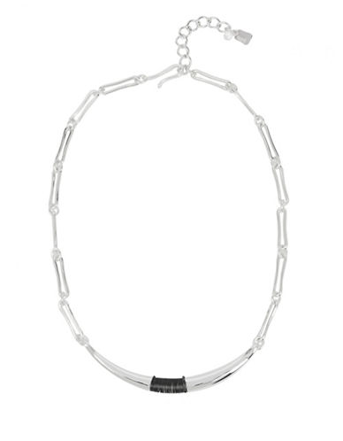 Robert Lee Morris Soho Sculptural Wire Wrapped Frontal Necklace-SILVER-One Size