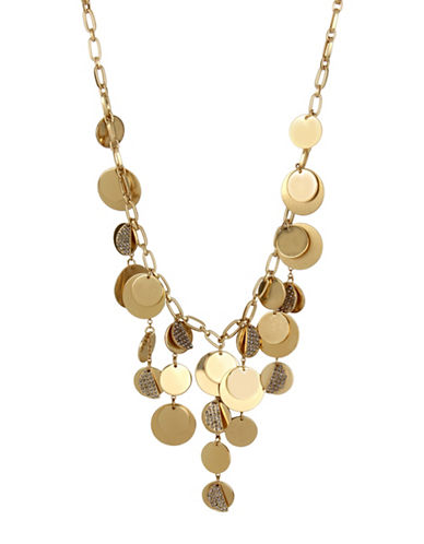 Kenneth Cole New York Pave Disc Fringe Frontal Necklace-GOLD-One Size