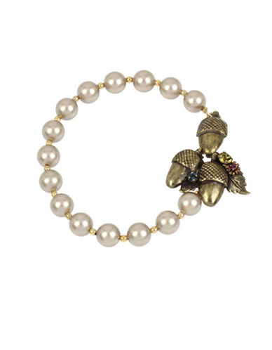 Miriam Haskell Acorn Charm Cluster Pearl Strand Bracelet-WHITE-One Size
