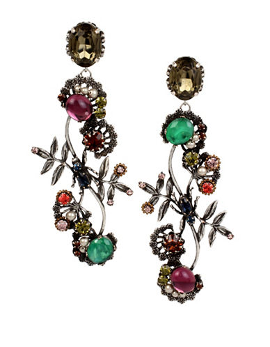 Miriam Haskell Mixed Stone Branch Linear Earrings-ASSORTED-One Size