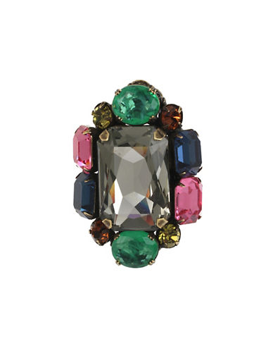 Miriam Haskell Mixed Stone Cluster Statement Ring-MULTI-7