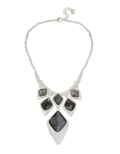 Robert Lee Morris Soho Geometric Frontal Bib Necklace-SILVER-One Size
