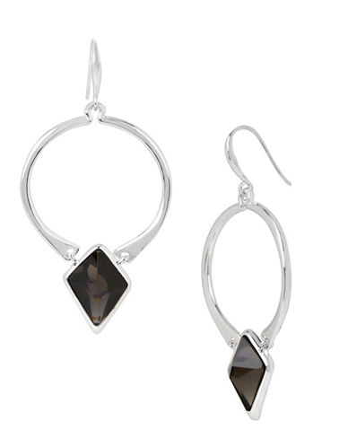 Robert Lee Morris Soho Faceted Stone Gypsy Hoop Earrings-BLACK-One Size