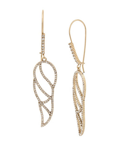 Betsey Johnson Angels and Wings Goldtone Cut-Out Feather Drop Earrings-GOLD-One Size