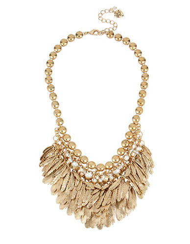 Betsey Johnson Feather and Crystal Bib Frontal Necklace-GOLD-One Size