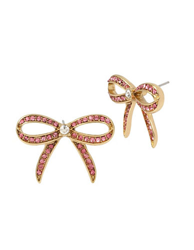 Betsey Johnson Pave Bow Button Stud Earrings-PINK-One Size