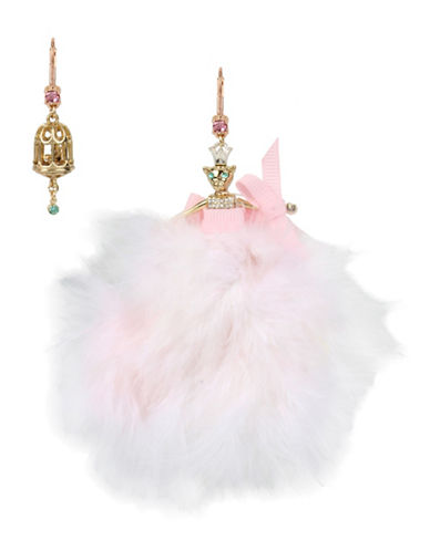Betsey Johnson Mouse Ballerina & Birdcage Mismatch Earrings-PINK-One Size