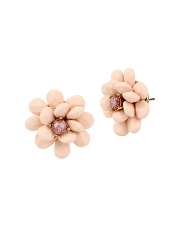 Betsey Johnson Flower Button Stud Earrings-PINK-One Size