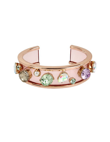 Betsey Johnson Multicolor Stone Bow and Pearl Cuff Bracelet-MULTI-One Size