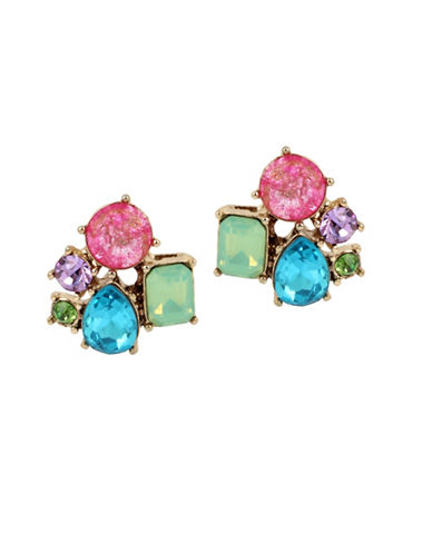 Betsey Johnson Faceted Cluster Button Stud Earrings-MULTI-One Size