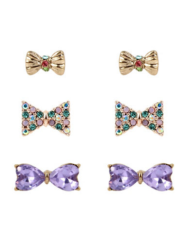 Betsey Johnson Three-Pair Mixed Bow Triple Stud Earring Set-MUTLI-One Size