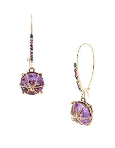 Betsey Johnson Wire-Wrapped Purple Stone Drop Earrings-PURPLE-One Size