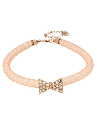 Betsey Johnson Pave Faux-Pearl Mesh Choker-PINK-One Size