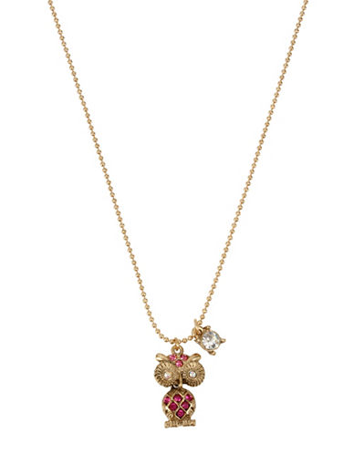 Betsey Johnson Owl Pendant Necklace-PINK-One Size