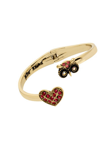 Betsey Johnson Owl & Pave Heart Hinged Bangle-PINK-One Size