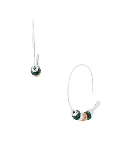 Robert Lee Morris Soho Patina Bead Wire Hoop Earrings-SILVER-One Size