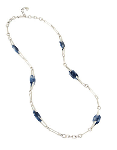 Robert Lee Morris Soho Long Semiprecious Station Necklace-BLUE-One Size