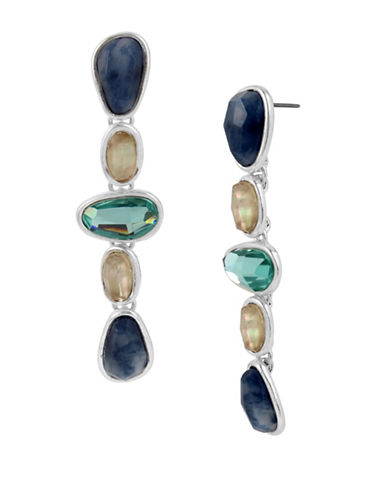 Robert Lee Morris Soho Semiprecious Mix Sculptural Linear Earrings-MULTI-One Size