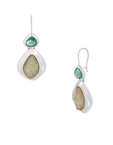 Robert Lee Morris Soho Mixed Stone Sculptural Double Drop Earrings-MULTI-One Size