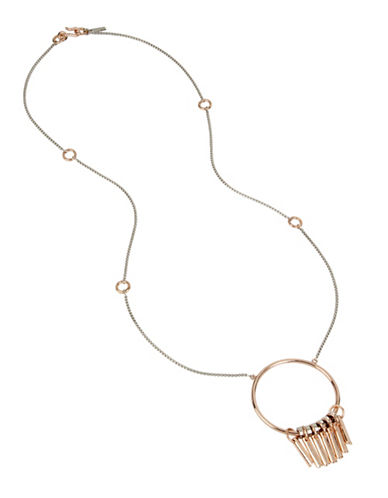 Kenneth Cole New York Circle and Stick Pendant Long Necklace-TWO TONE-One Size