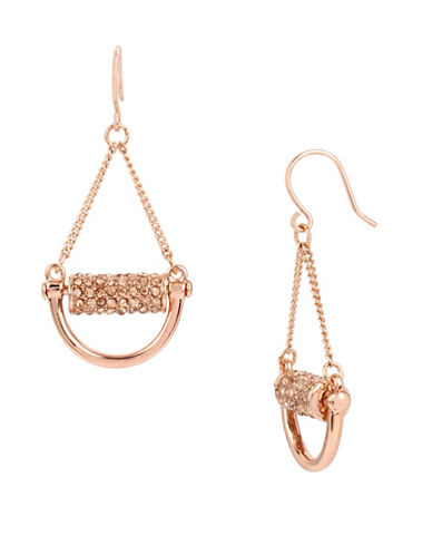 Kenneth Cole New York Rose Goldtone Pave Bar Drop Earrings-ROSE GOLD-One Size
